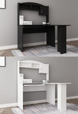 WestWood L-shaped Computer PC Desk Table With Shelves Storage Home Office CD13