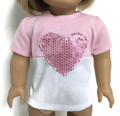 """Pink & White Knit Top Shirt with Sequin Heart for 18"""" American Girl Doll Clothes"""
