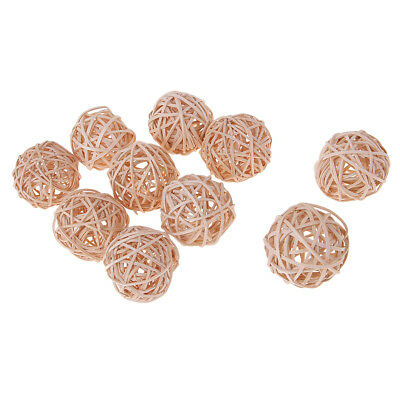 10 Pcs Natural Rattan Cane Wicker Balls Twig Orbs Ball 5CM for Hanging