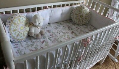Serena and Lily White With Pink Piping Crib Bumper With Matching Crib Skirt