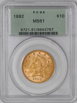 1892 $10 Gold Liberty #938739-1 MS61 Green Label PCGS