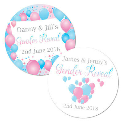 Personalised Gender Reveal baby shower stickers, pink & blue balloon design x 24