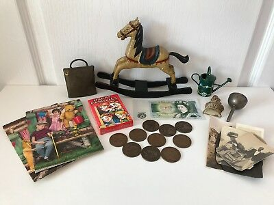 Mixed Lot Of Curios Vintage Wooden Ornamental Rocking Horse Cowbell Retro