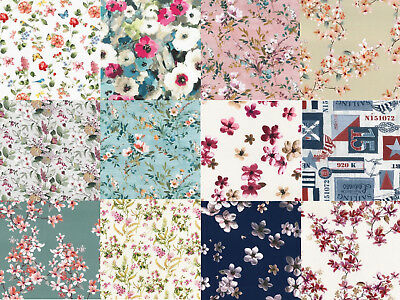 "66"" Prints 100% Cotton Solid Colours Floral Fabric Sheeting Craftwork Per Meter"