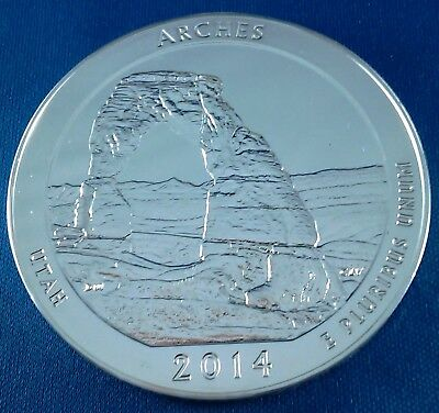 2014 Arches America the Beautiful ATB 5 Ounce .999 Silver Coin w/air-tite