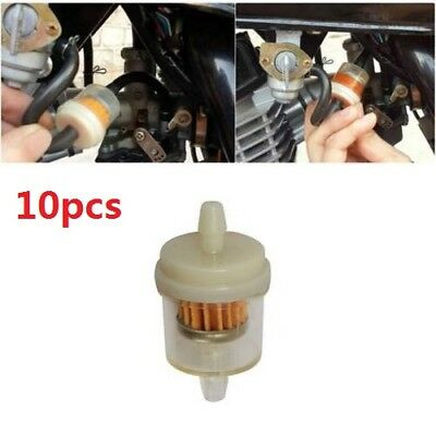 """10pcs 1/4"""" 6-7mm Motorcycle Scooter Hose Inline Gas Fuel Gasoline Filter New"""