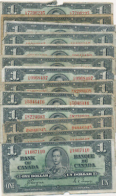 Bank Of Canada Lot Of 13 Notes 1 Dollar 1937