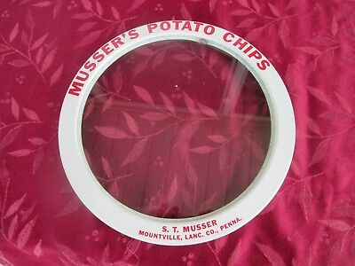 Vintage  S.T. MUSSER'S POTATO CHIPS Glass Lid    Charles Chips Mountville PA