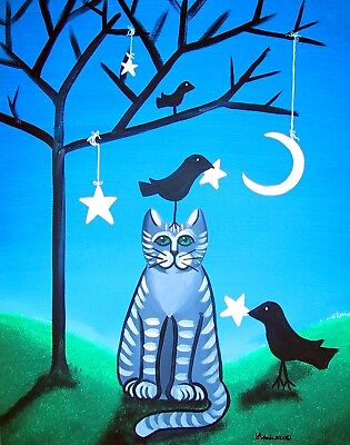 Whimsical Folk ArT magnet Crows and Gray Tabby Cat Hanging Stars STARLU