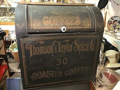 Antique Large Store Display Thompson & Taylor Spice Diamond Brand Coffee Tin Box