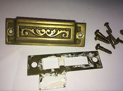 Antique Eastlake Victorian Brass Door Jamb Catch Plate Strike Mortise Keeper 2 P
