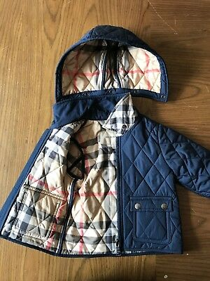 Baby Boys Burberry Coat 6 - 9 months Designer Babies Jacket Navy Blue