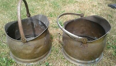 Two Vintage Coal buckets Copper and brass ?