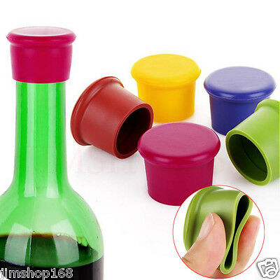 5X Assorted Colors Silicone Reusable Wine Bottle Caps/Beer Sealer Cover Colorful