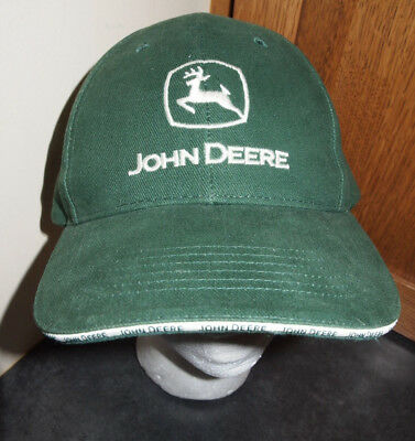 John Deere Hat Green Adjustable Cap White Logo OSFA Farming Agriculture Mowing