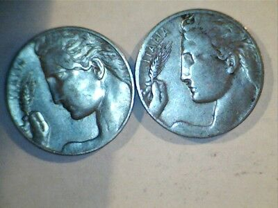 2 Italy 20 Centimes 1913, and 1921