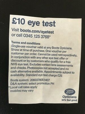 0dcba2a13ab BOOTS OPTICIANS £10 Eye Test Voucher - £1.15