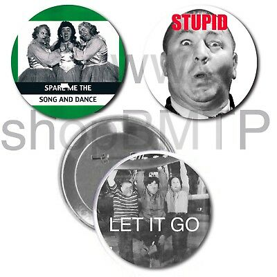 3 Pin-Back Three Stooges  2.25 Inch Round Buttons
