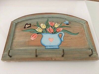 Vintage wood key hook hanger wall decor hand painted cottage home decor