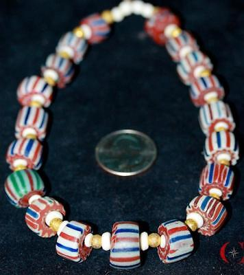 Estate~Antique~Awesome~Dutch~Stripe Chevron~Mix~Venetian/african~Trade Beads-