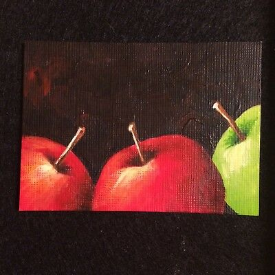 ACEO Original Hand Painted Acrylic Red Apples Green Apple Foodie Fruit Kitchen