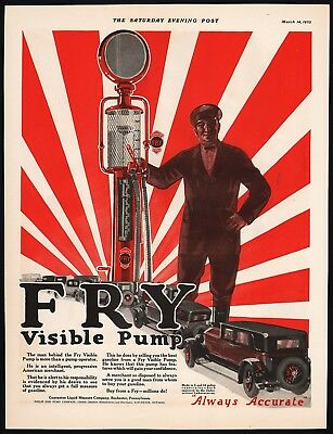 Vintage magazine ad FRY VISIBLE PUMP 1925 Guarantee Liquid Measure Co n-mint