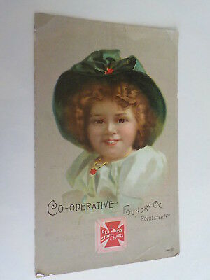 Late 1800's Red Cross Stoves & Ranges Trade Card A. J. Snow Fulton Ny