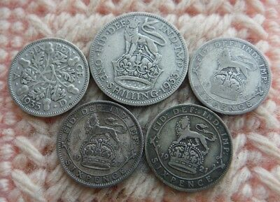 UK Great Britain Sixpence 1921, 1926, 1927, 1935 Shilling 1933 Lot of 5 Silver