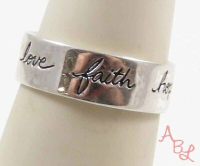 Sterling Silver Vintage 925 Faith, Hope & Love Band Ring Sz 6.75 (3.4g) - 731299