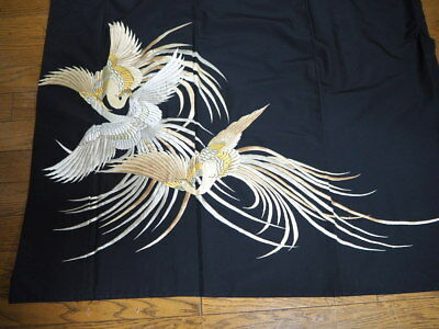 @@Vintage/Japanese tomesode kimono synthetic fabric/ 3 embroidered birds  C887