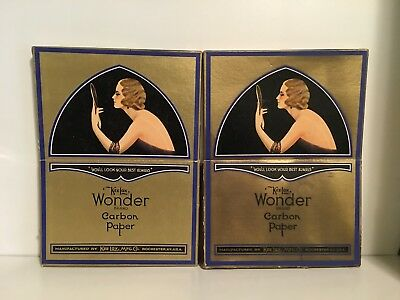 2 Full Boxes of KeeLox Wonder Brand Carbon Paper 1920's Lady on ART DECO Box