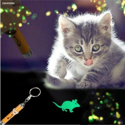 Cat Kitten Pet Toy LED Laser Lazer Pen Light With Bright Mouse Animation 8AE9