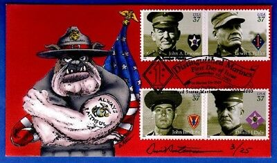 PETERMAN Hand Painted : 2005 Distinguished Marine w/All 4 Stamps - Only 25 Made