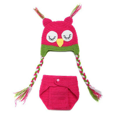 New 5X(Sweet Owl Baby Girl photoshoot Knit Crochet Costume Beanie + Pants NB