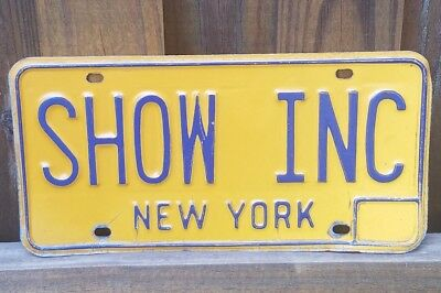 Real Vintage New York Vanity License Plate SHOW INC Broadway TV Movies Theatre