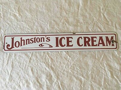 Old Johnson's Ice Cream Porcelain Grocery Store Screen Door Advertising Sign