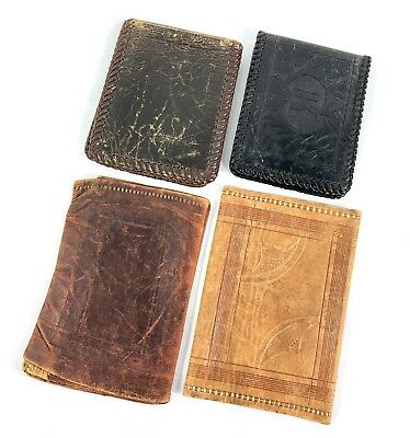 Lot 4 Vintage 40s 50s Mens Leather Wallets C61
