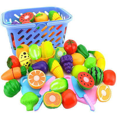 Kids Kitchen Pretend Toy Fruit Vegetable Food Cutting Set Plastic Farm Role Play