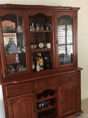 Solid timber buffet and hutch with wine rack and glass fronted display cabinets