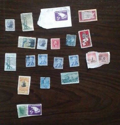 Small Mixed Junk Drawer Lot of OLD US 5 Cent Postage Stamps