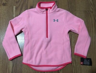 NWT Girls Under Armour Half Zip, Fleece, Pop Pink, Size 4, New, youth sweatshirt