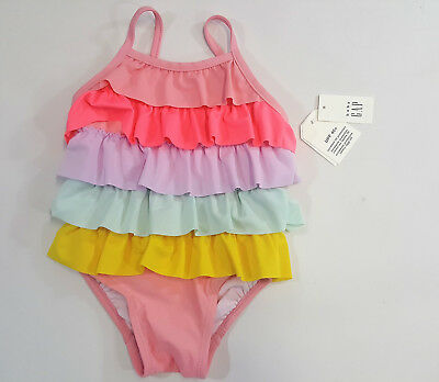 NWT Baby Gap Girls Size 0 6 12 18 24 Months Rainbow Ruffle Swimsuit Bathing Suit