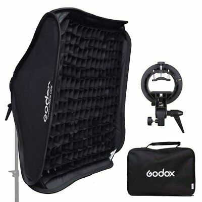 Godox 80x80cm Bowens Mount Softbox Grid + S-type Bracket For Flash Speedlite