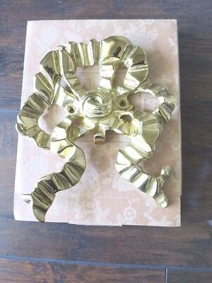NWB Vintage Large Solid Brass French Style Picture Bow Wall Display Holder 8X7