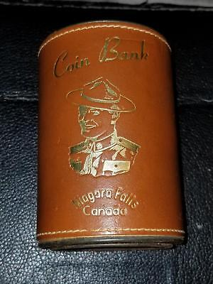 Vintage Niagara Falls Leather Covered Coin Bank