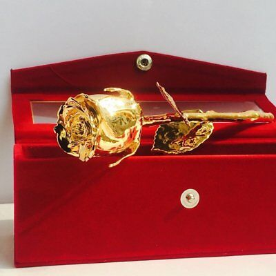 24k Gold Plated Natural Rose With Exclusive Red Velvet Box with Button For Gift