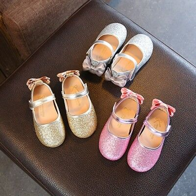 Baby Kids Girls PU Leather Crib Shoes Toddler Sequins Bowknot Walking Sneakers