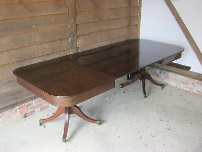 GRAND 19th CENTURY REGENCY MAHOGANY TWIN PILLAR DINING TABLE TO SEAT 12