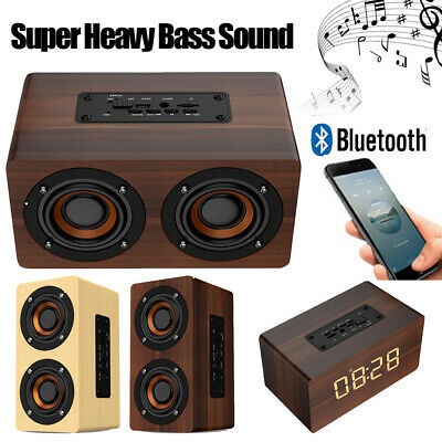 Wooden Bluetooth Speaker FM Radio HiFi Music Clock Alarm Stereo Grain Subwoofer