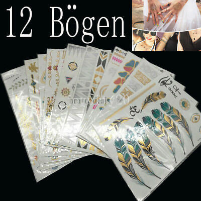 12 Blatt Temporary Klebe Tattoo Flash Inspire Metallic Gold Feder Haut Körper